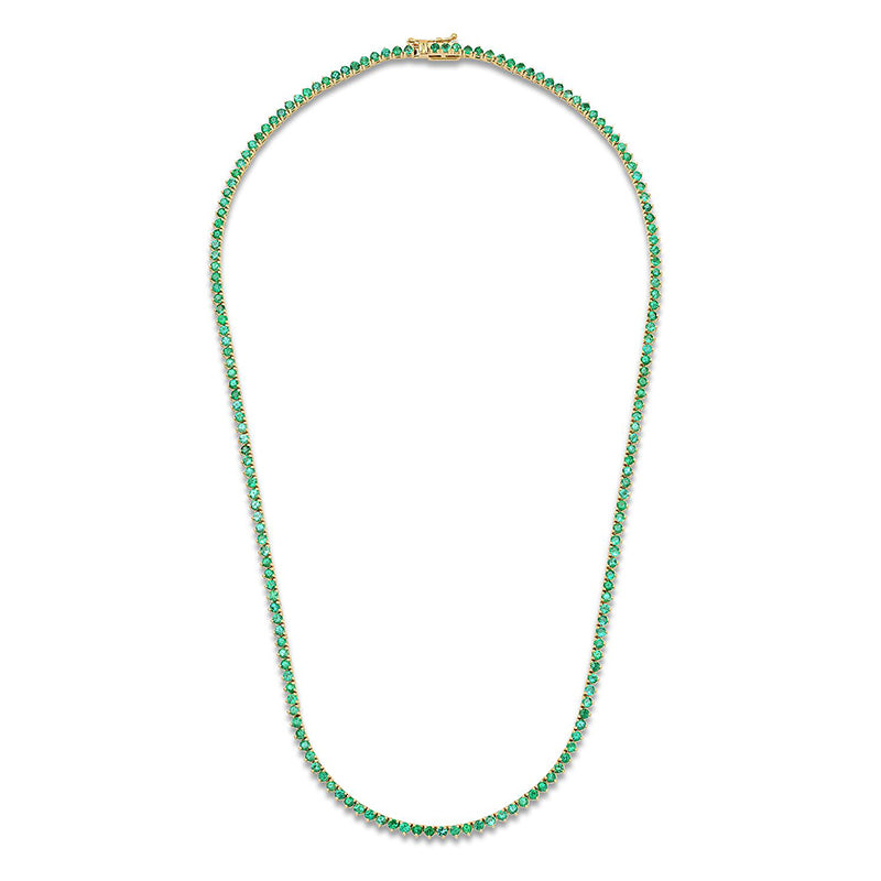 Emerald 3 Prong Tennis Necklace