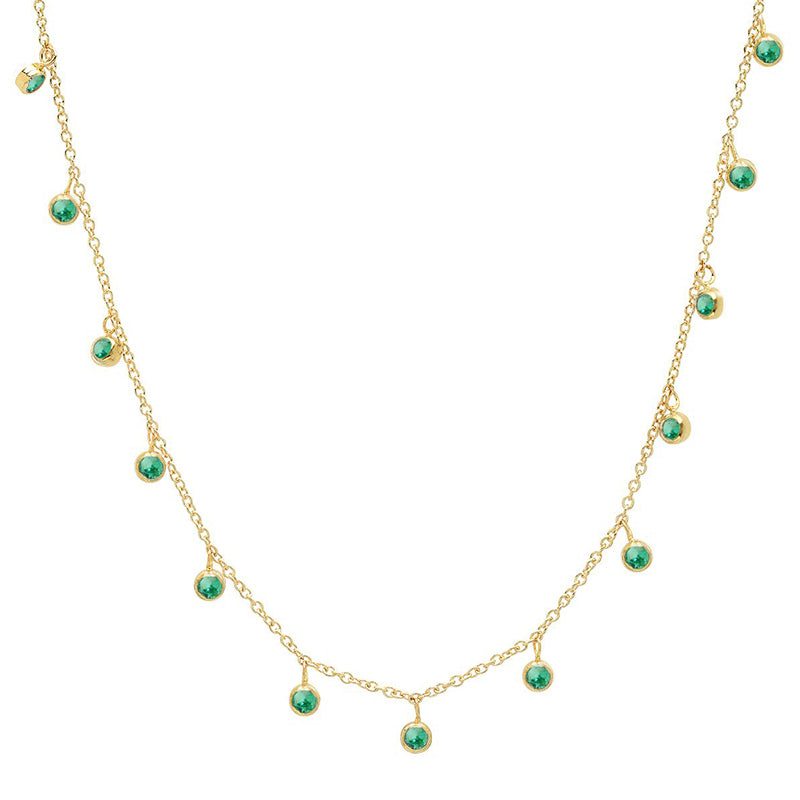 Mini Emerald Bezel Dangle By-The-Inch Necklace