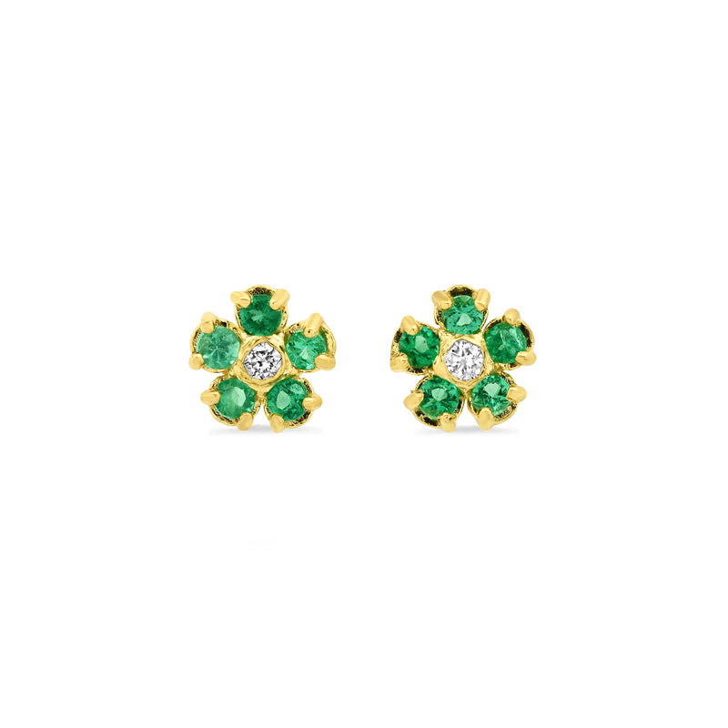 Emerald Flower Studs with Diamond Center