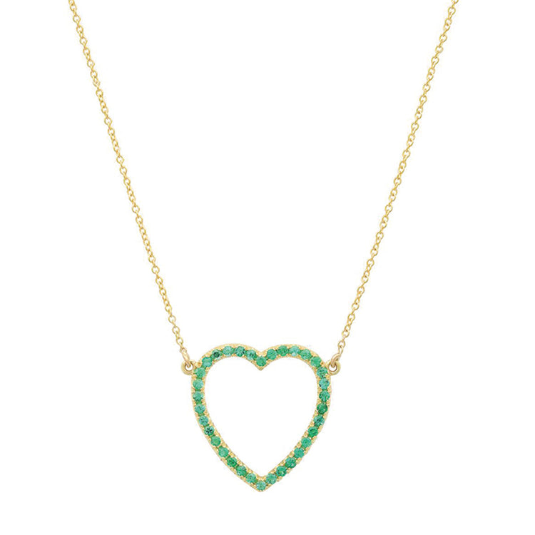 Large Emerald Open Heart Necklace