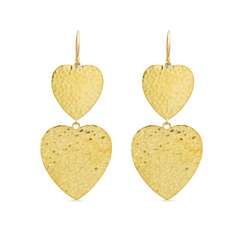 Double Hammered Heart Earrings