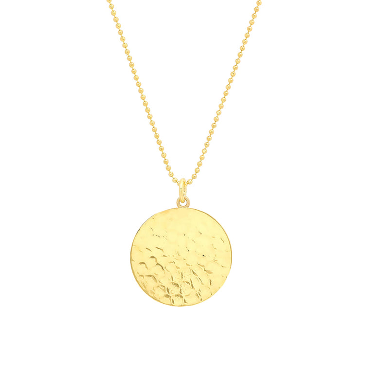 Hammered Disc Pendant Necklace