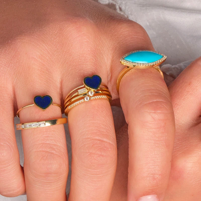 Extra Small Lapis Inlay Heart Ring
