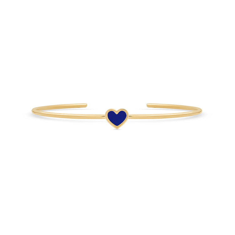 Lapis Inlay Heart Cuff