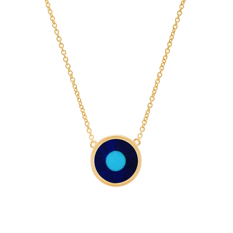 Mini Lapis Inlay Evil Eye Necklace