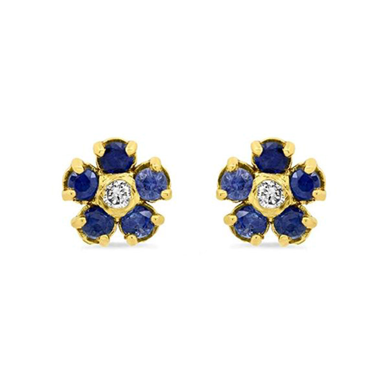 Blue Sapphire Large Flower Studs with Diamond Center