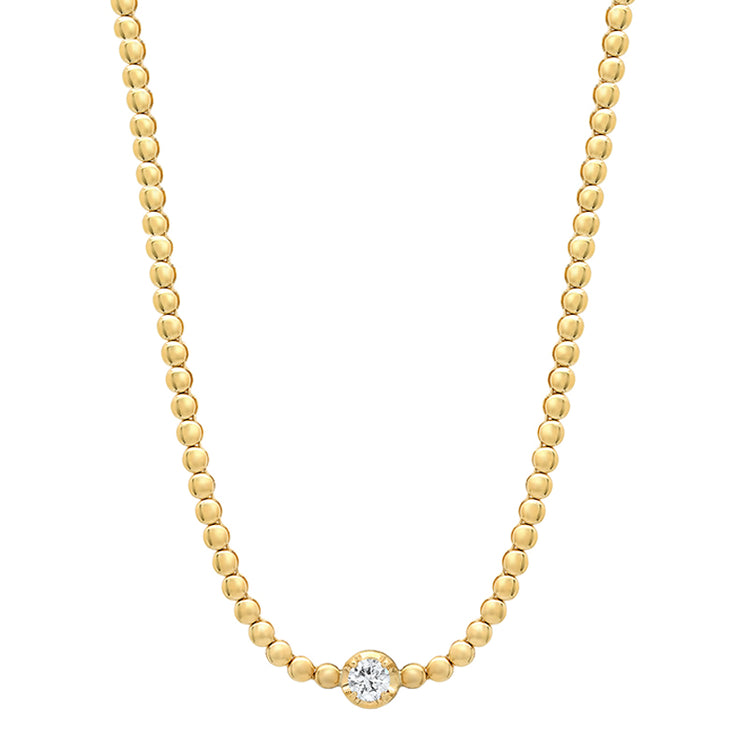 Mini Bezel Tennis Necklace with Illusion-Set Diamond Center