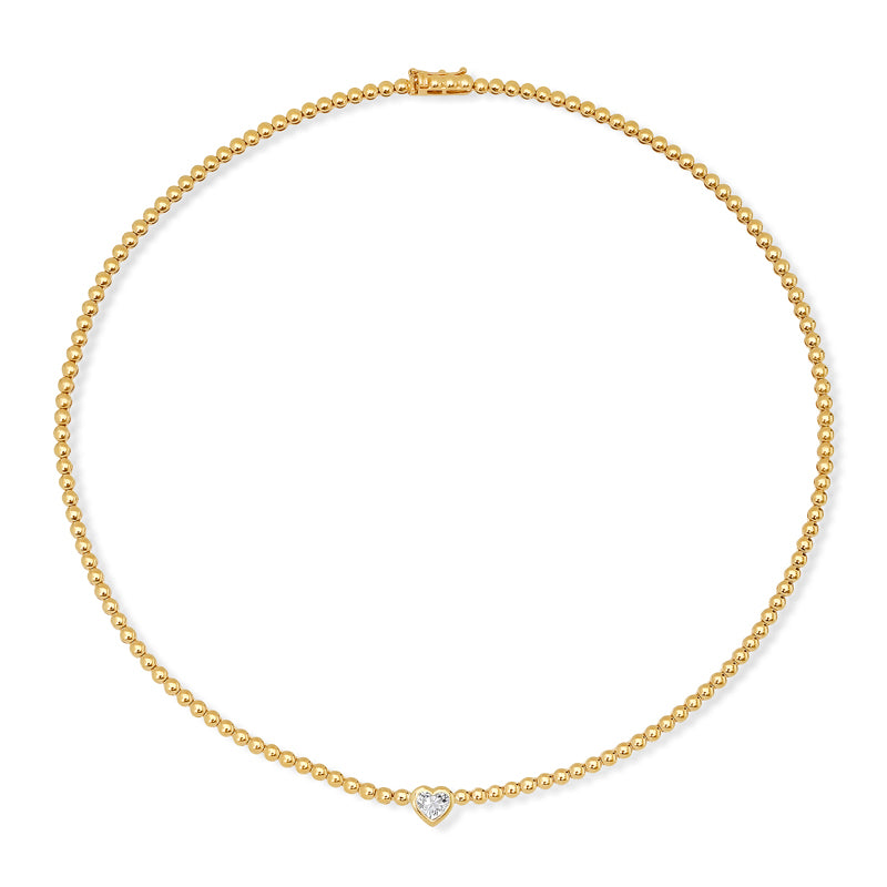 Mini Bezel Tennis Necklace with Heart-Cut Diamond Accent