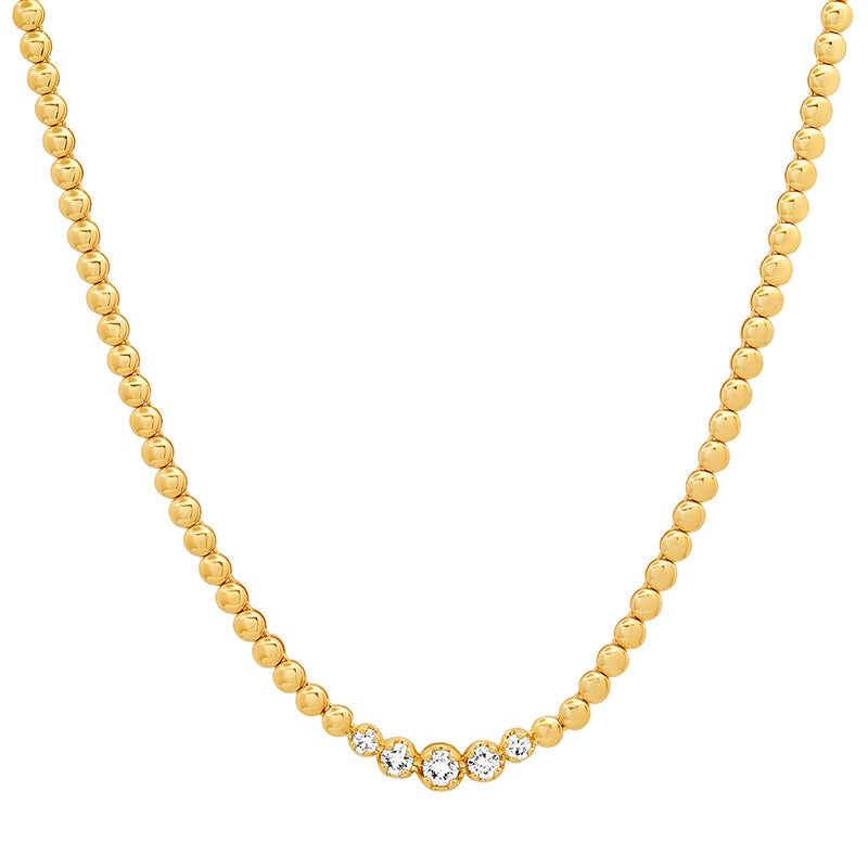 Mini Bezel Tennis Necklace with Graduated Diamond Center