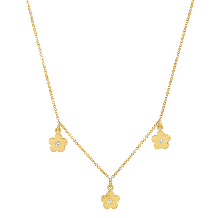 3 Mini Daisy Dangle Necklace with Diamond Center