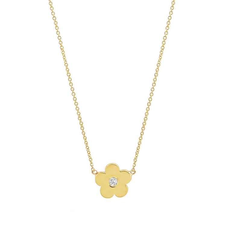 Mini Daisy Necklace with Diamond Center