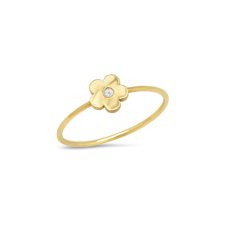 Mini Daisy Ring with Diamond Center