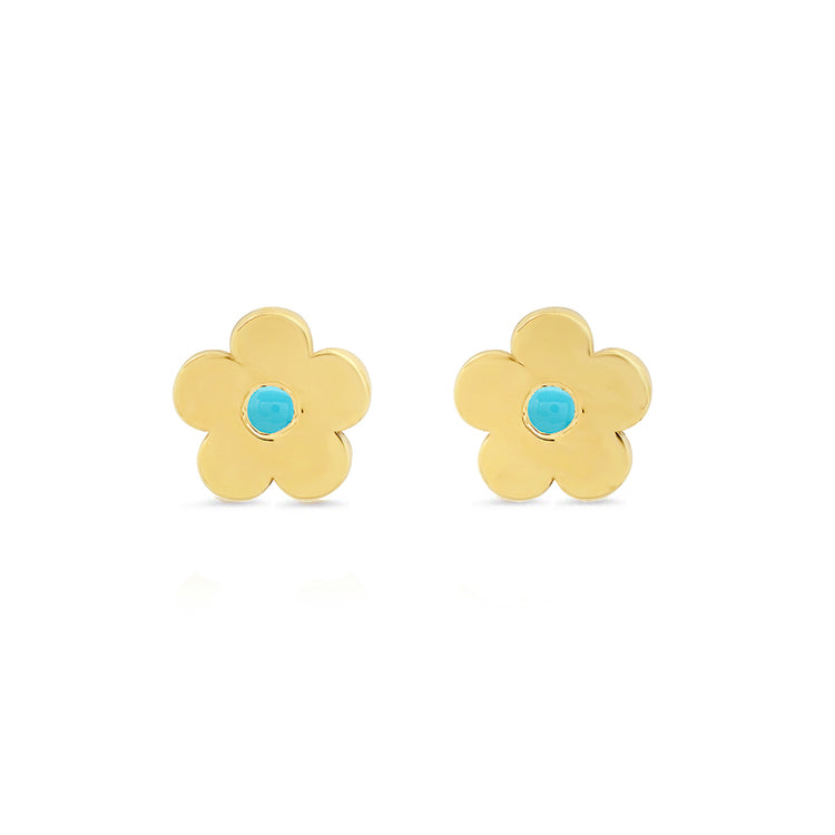 Mini Daisy Studs with Turquoise Center