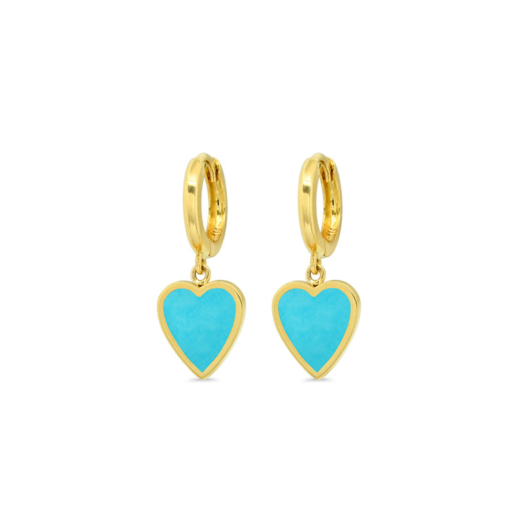 Mini Huggies with Mini Turquoise Inlay Heart Drop