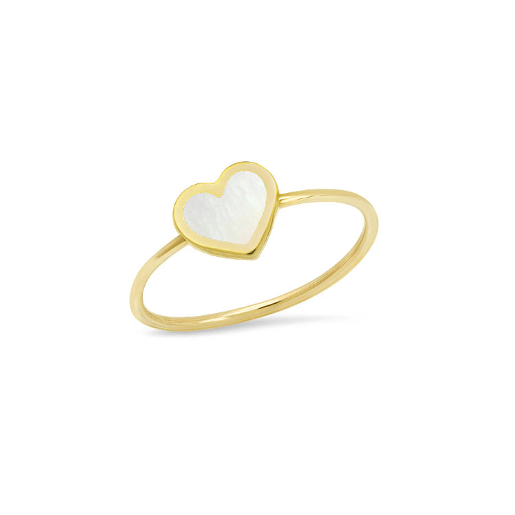 Extra Small Mother of Pearl Inlay Heart Ring