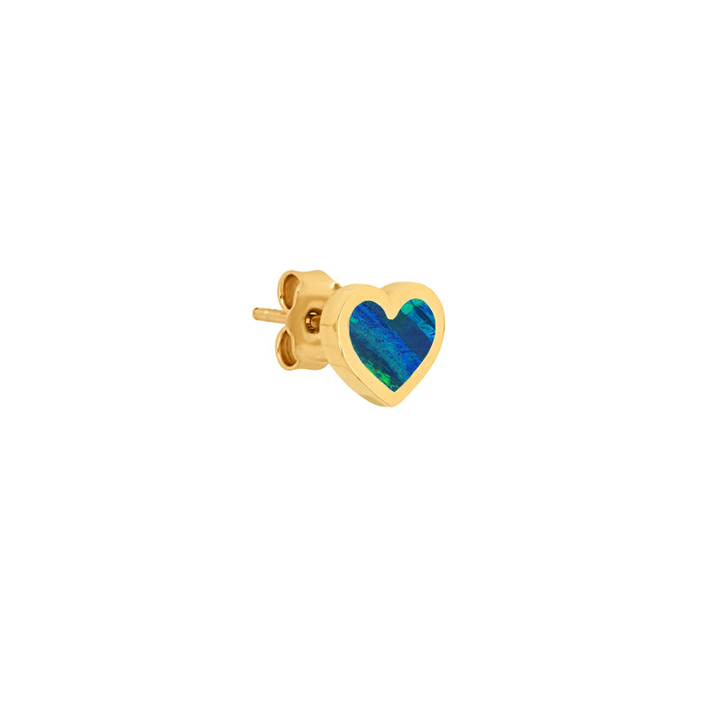 Opal Inlay Heart Studs