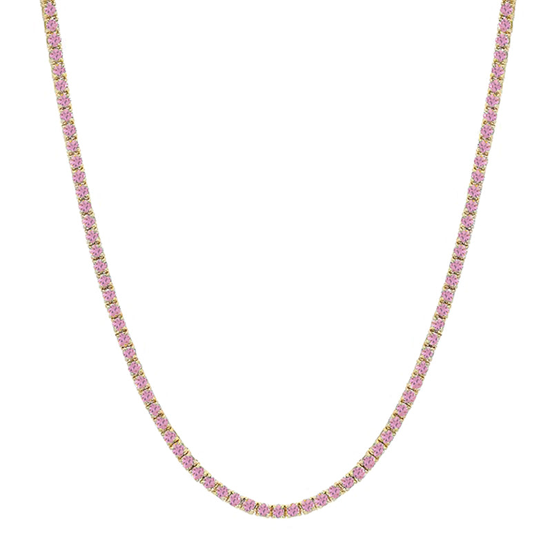 Pink Sapphire 4 Prong Tennis Necklace