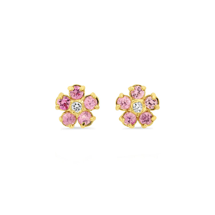 Pink Sapphire Flower Studs with Diamond Center