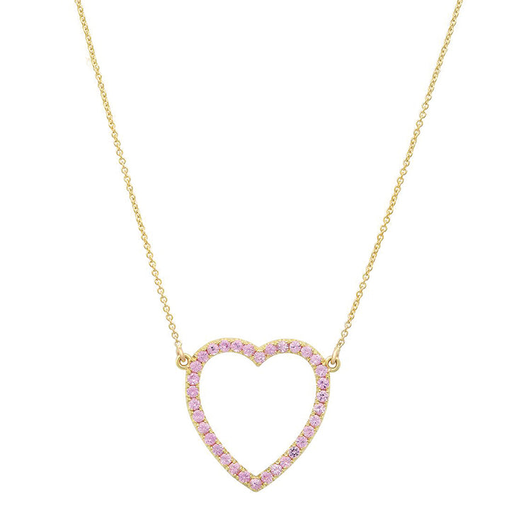 Large Pink Sapphire Open Heart Necklace