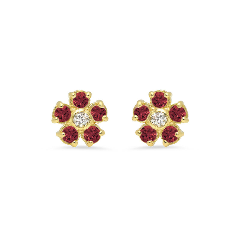 Ruby Flower Studs with Diamond Center