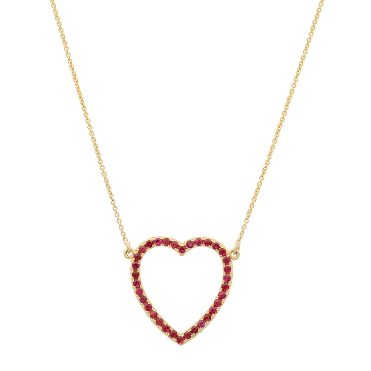 Ruby Large Open Heart Necklace