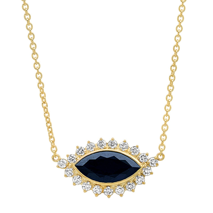 Blue Sapphire and Diamond Marquise Necklace