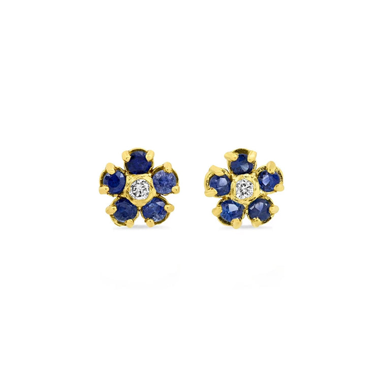 Blue Sapphire Flower Studs with Diamond Center