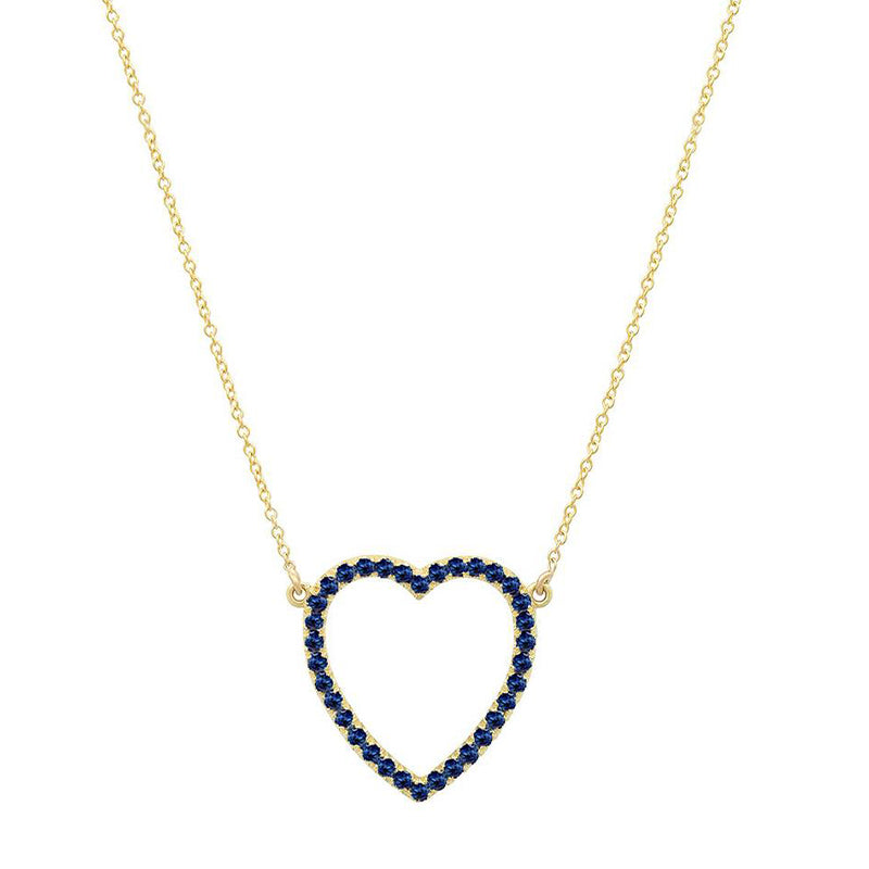Large Sapphire Open Heart Necklace