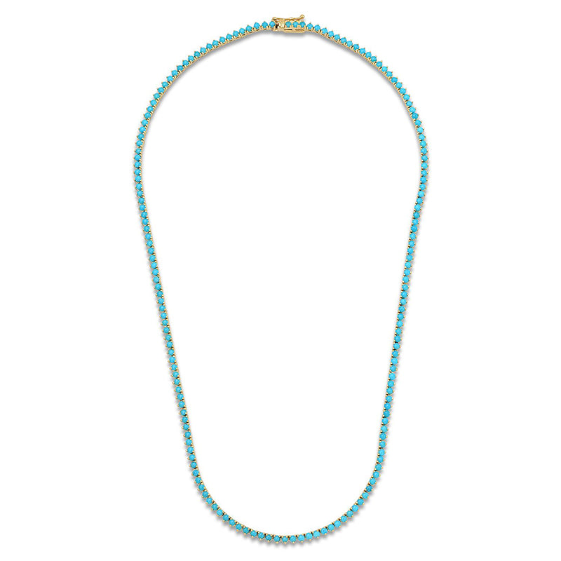Turquoise 3 Prong Tennis Necklace