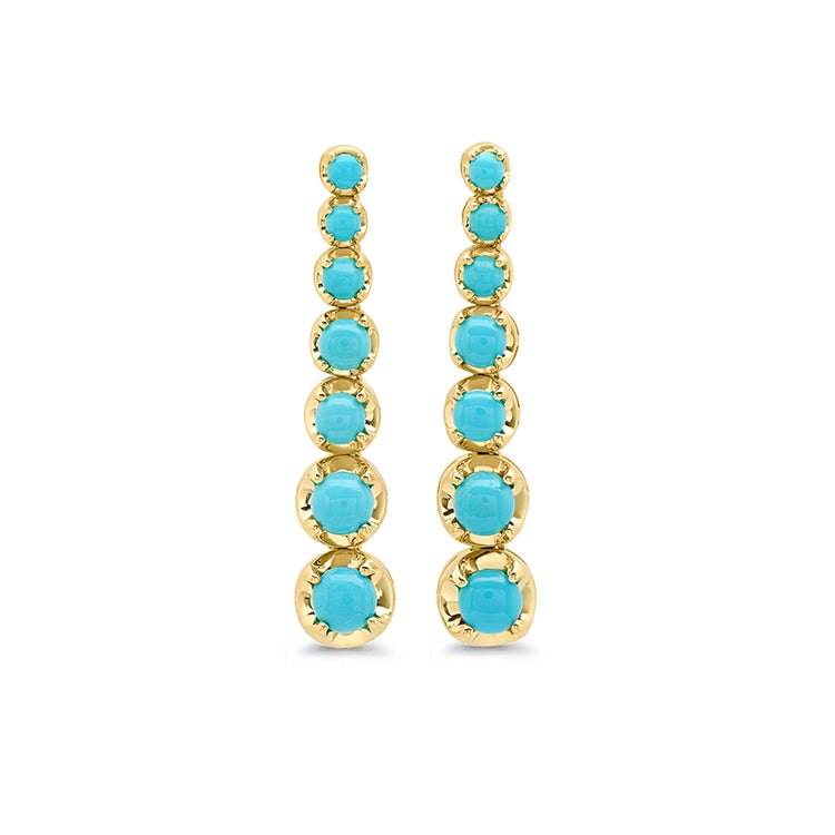 7 Large Graduated Turquoise Tennis Studs