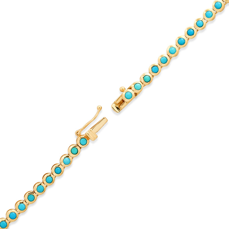 Turquoise Mini Bezel Tennis Necklace with Mini Turquoise Evil Eye with Diamonds