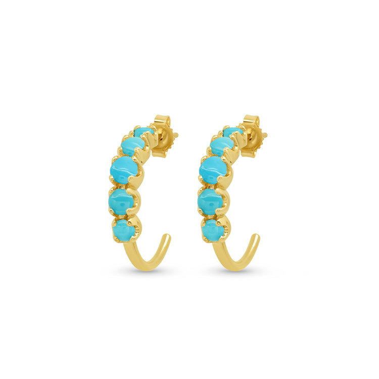 Small Graduated Turquoise Hoops