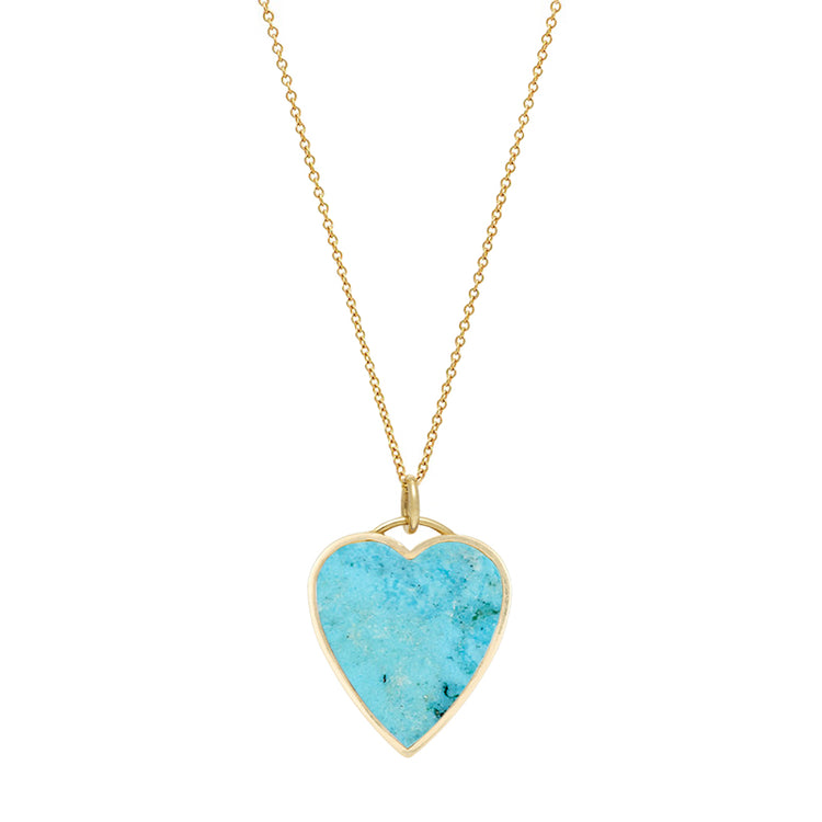 Turquoise Inlay Heart Necklace