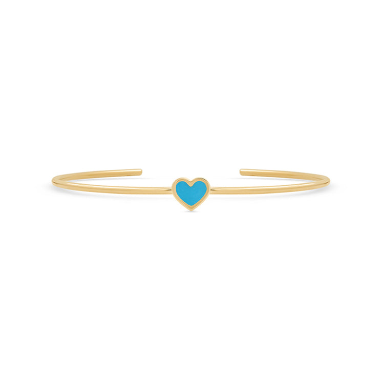 Turquoise Inlay Heart Cuff