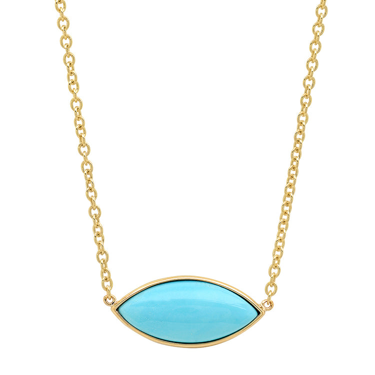 Large Turquoise Marquise Necklace