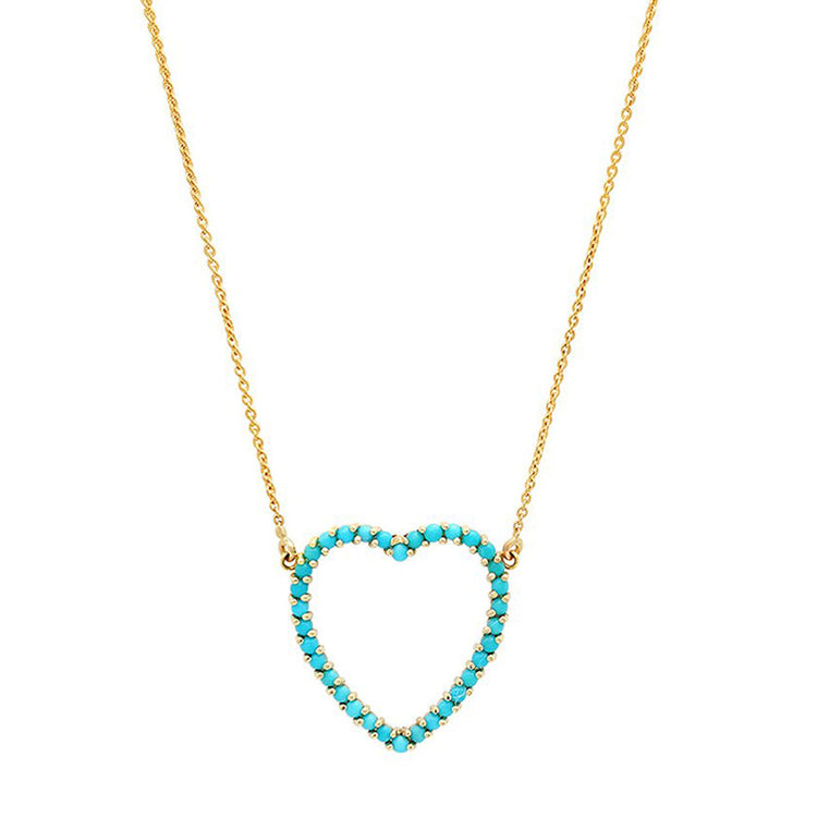 Large Turquoise Open Heart Necklace