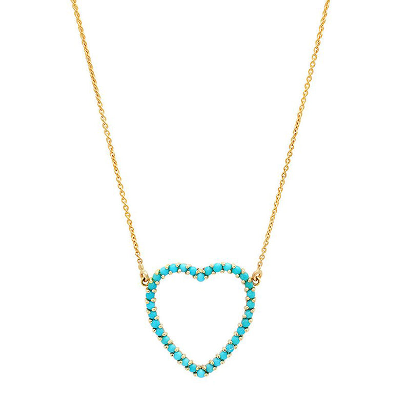 Turquoise Large Open Heart Necklace