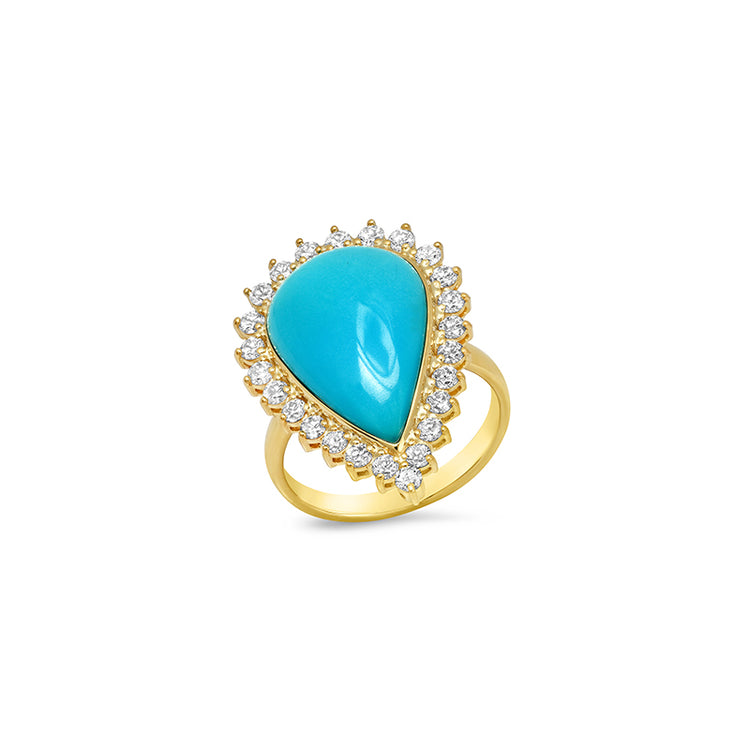 Cabochon, Pear-Cut Turquoise with 3-Prong Diamond Surround Ring
