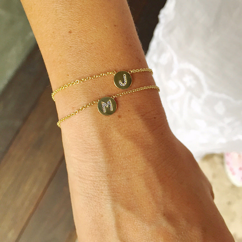 Diamond Mini Letter Disc Bracelet - T