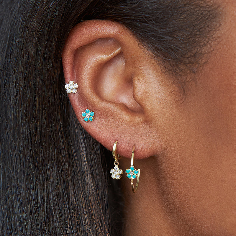 Thin Hoops with Turquoise and Diamond Flower Accent
