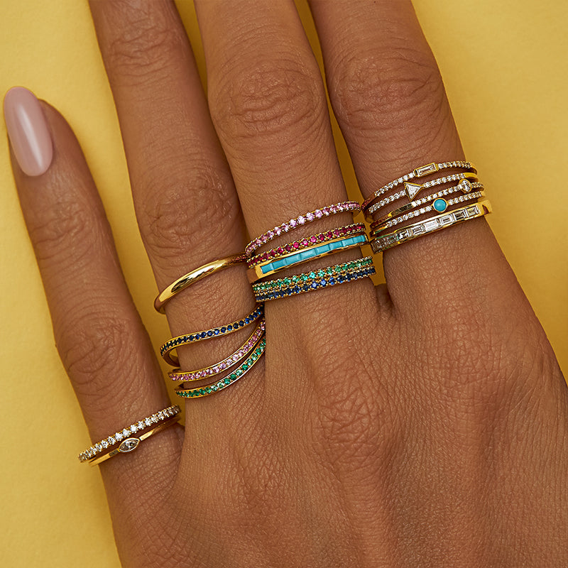 Channel Set Turquoise Baguette Ring