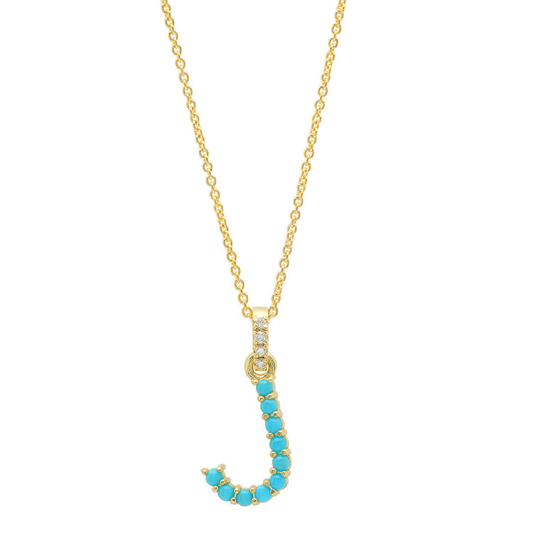 Turquoise Letter Necklace - J