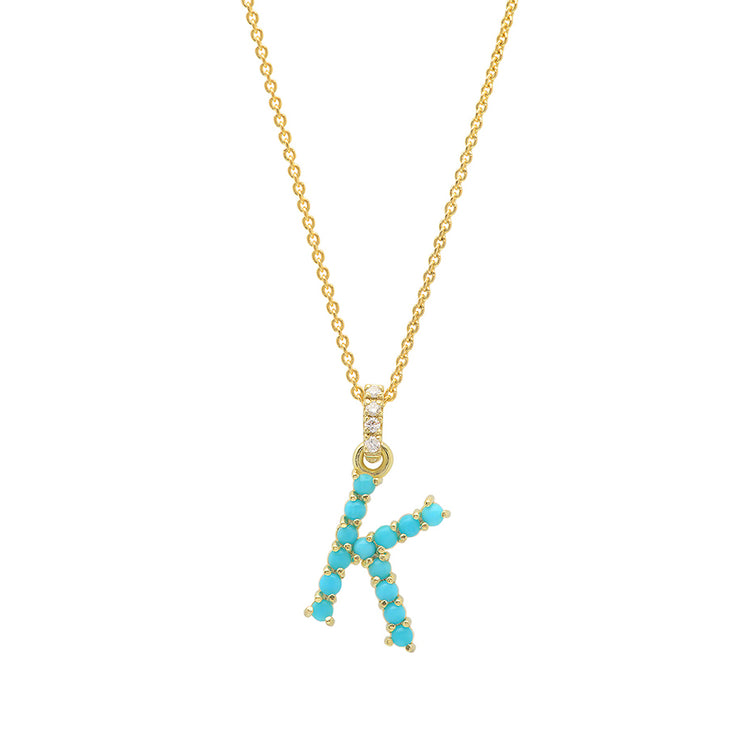 Turquoise Letter Necklace - K