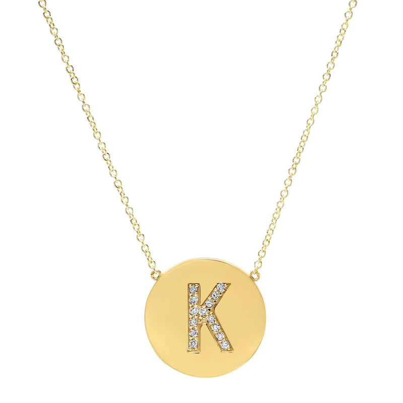Diamond Letter Disc Necklace - K
