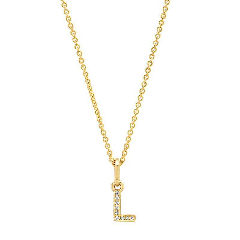 Diamond Mini Uppercase Letter Necklace - L