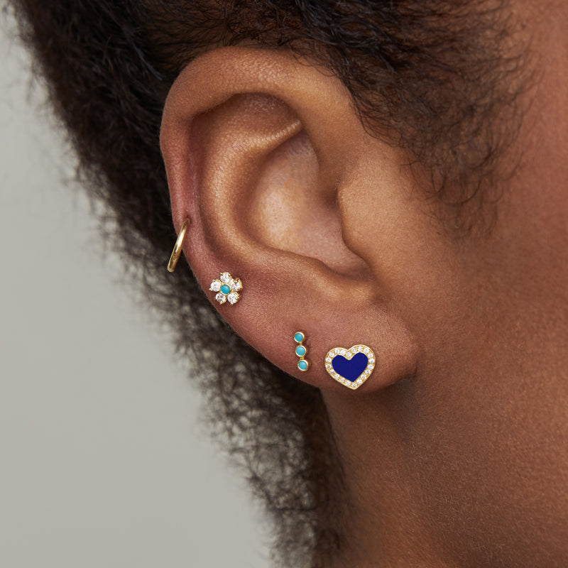 Lapis Inlay Heart Studs with Diamonds
