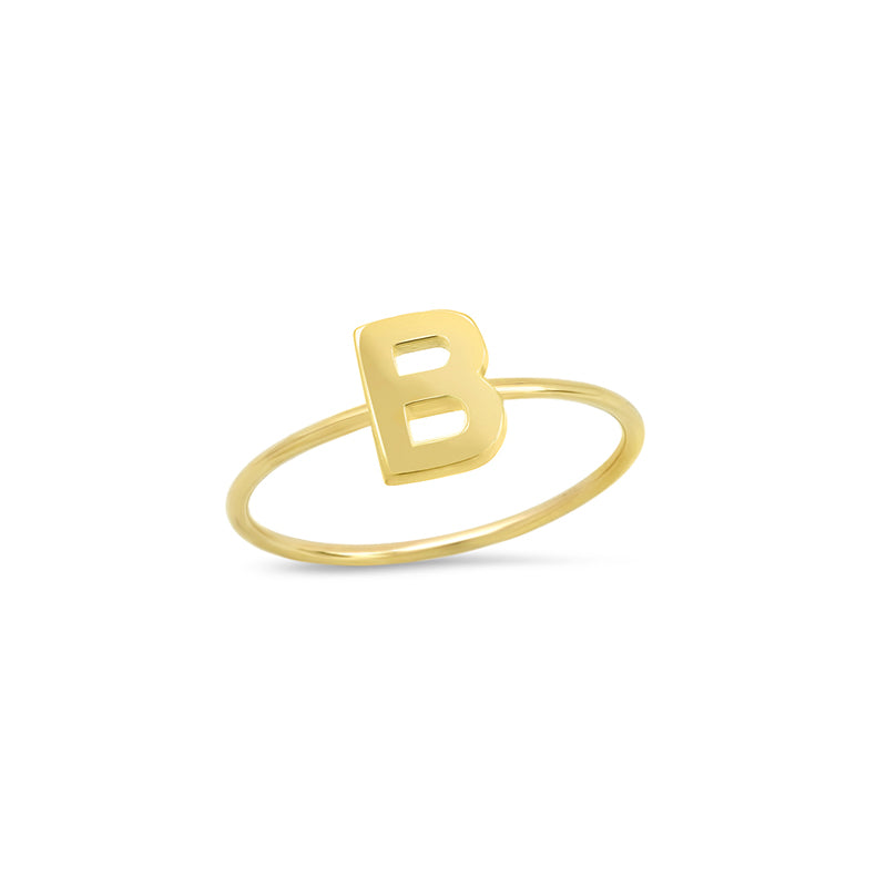 Mini Uppercase Letter Ring - B