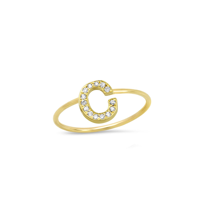 Diamond Mini Uppercase Letter Ring - C