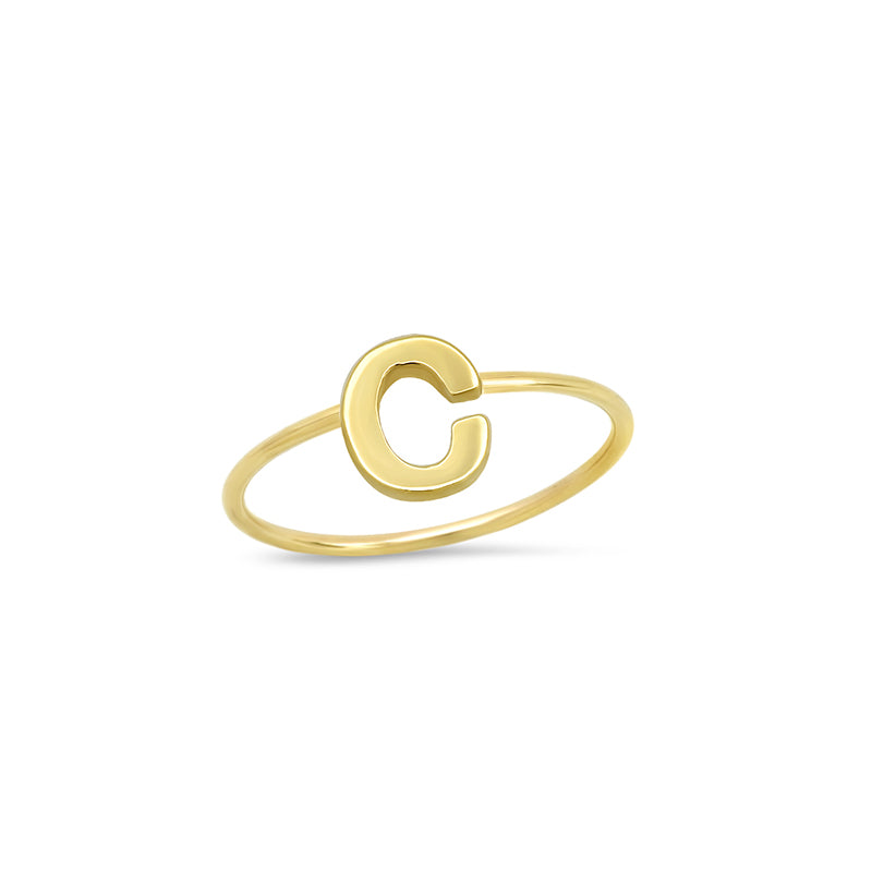 Mini Uppercase Letter Ring - C
