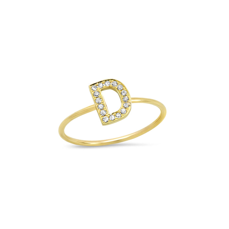 Diamond Mini Uppercase Letter Ring - D